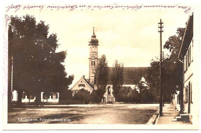 Laupheim, Friedhofkapelle (Vorderseite der Ansichtskarte)