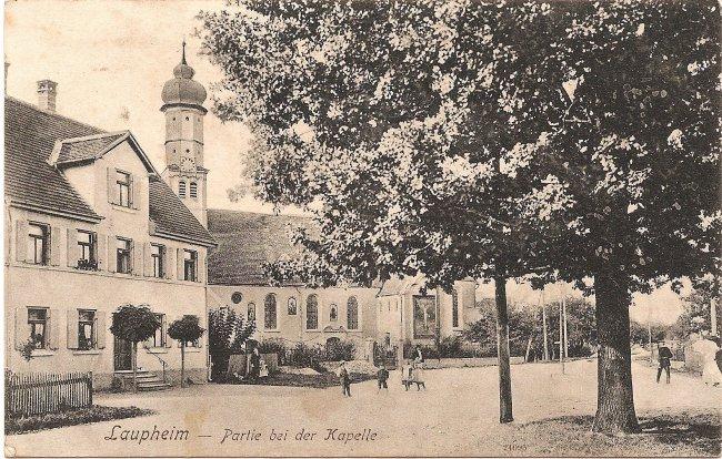 Laupheim - Partie bei der Kapelle (Vorderseite der Ansichtskarte)