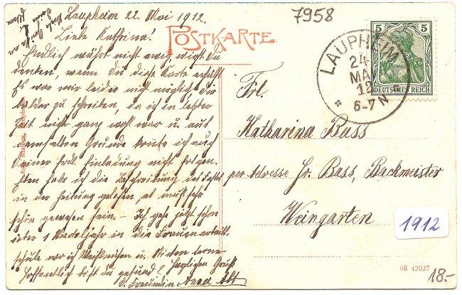 Laupheim, Ölberg (Rückseite der Ansichtskarte)