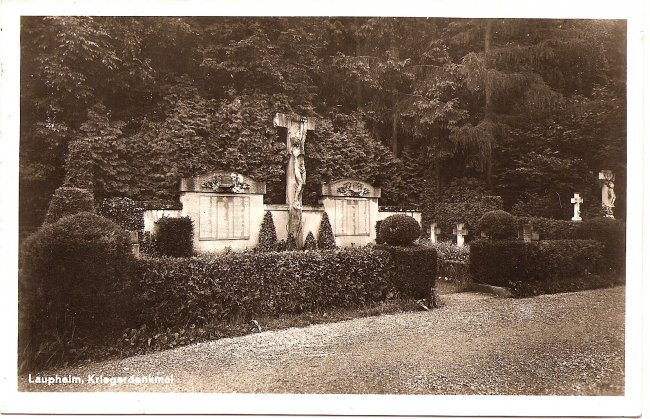 Laupheim, Kriegerdenkmal (Vorderseite der Ansichtskarte)