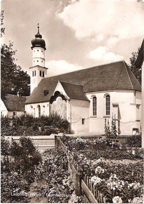 Laupheim (Württ.). Leonhardskirche (Vorderseite der Ansichtskarte)