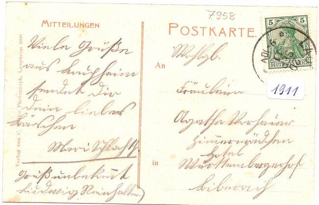 Laupheim König Wilhelmstrasse u. evang. Kirche (Rückseite der Ansichtskarte)