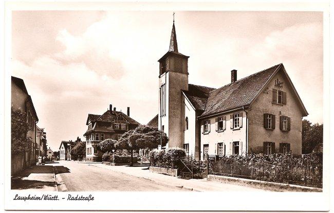 Laupheim/Württ. Radstraße (Vorderseite der Ansichtskarte)