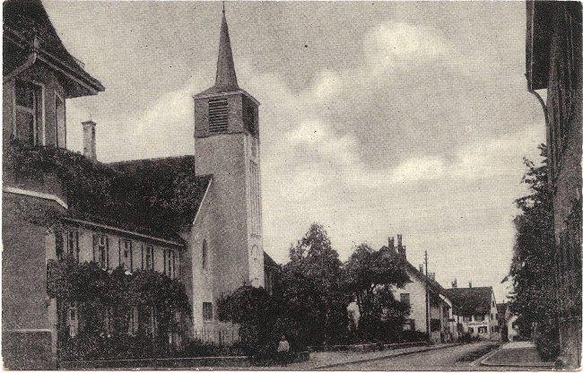 Evangelische Kirche (Vorderseite der Ansichtskarte)
