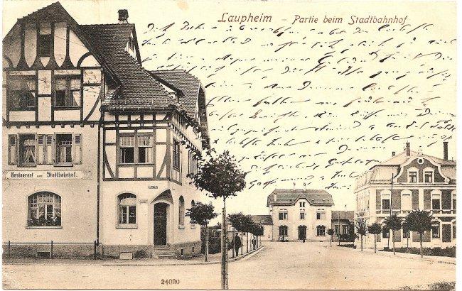 Laupheim - Partie beim Stadtbahnhof (Vorderseite der Ansichtskarte)