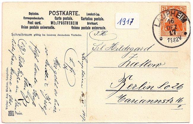 Laupheim Brückendurchblick auf die Hammerschmiede (Rückseite der Ansichtskarte)