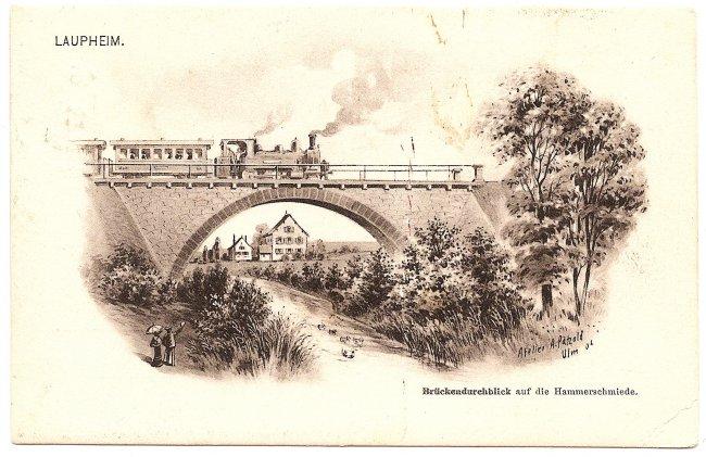 Laupheim Brückendurchblick auf die Hammerschmiede (Vorderseite der Ansichtskarte)