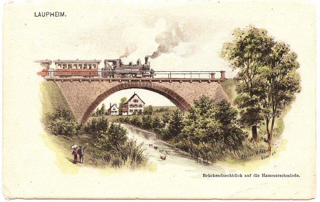 Brückendurchblick auf die Hammerschmiede (Vorderseite der Ansichtskarte)