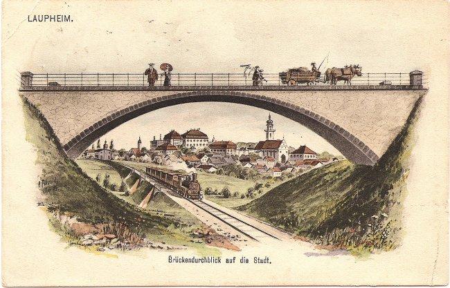 Laupheim  Brückendurchblick auf die Stadt (Vorderseite der Ansichtskarte)