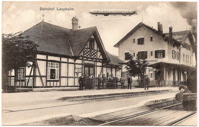 Bahnhof Laupheim (Vorderseite der Ansichtskarte)