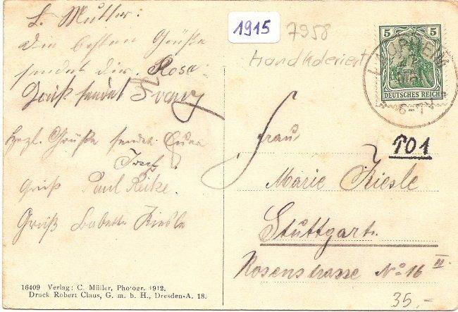Laupheim, Neues Kgl. Postamt, Süd-Ostseite (Rückseite der Ansichtskarte)
