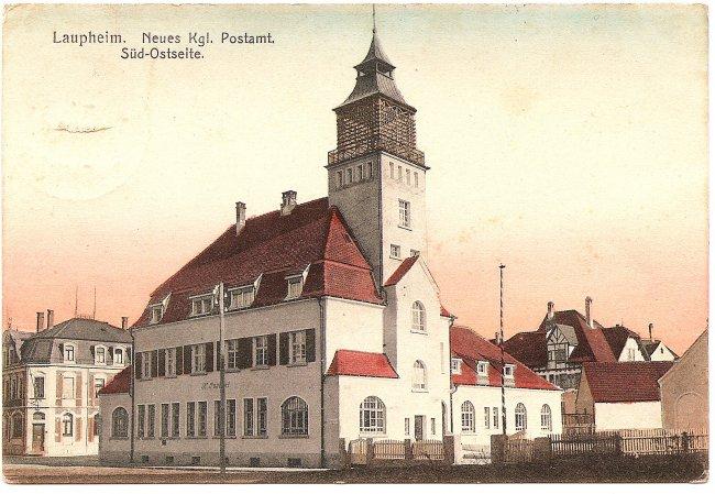 Laupheim, Neues Kgl. Postamt, Süd-Ostseite (Vorderseite der Ansichtskarte)