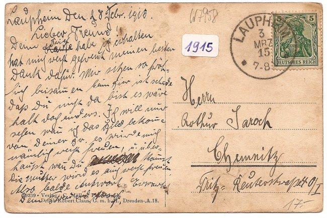 Laupheim, Neues Kgl. Postamt, Nord-Ostseite (Rückseite der Ansichtskarte)