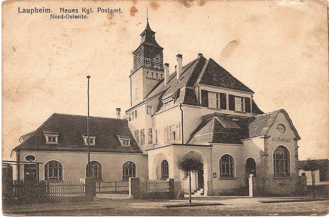 Laupheim, Neues Kgl. Postamt, Nord-Ostseite (Vorderseite der Ansichtskarte)