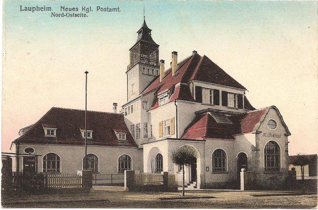 Laupheim, Neues Kgl.  Postamt Nord-Ostseite (Vorderseite der Ansichtskarte)