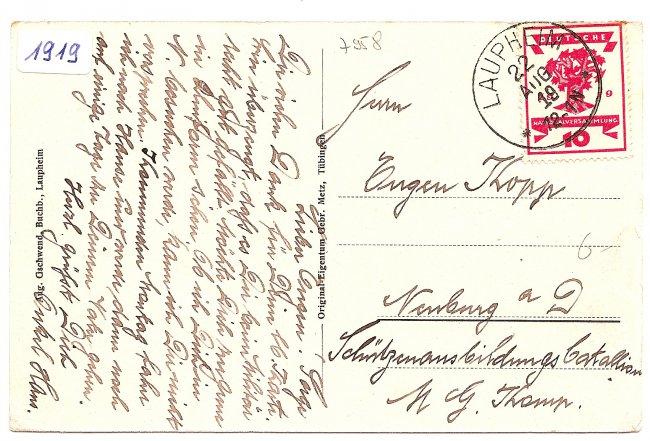 Laupheim,  Postamt (Rückseite der Ansichtskarte)