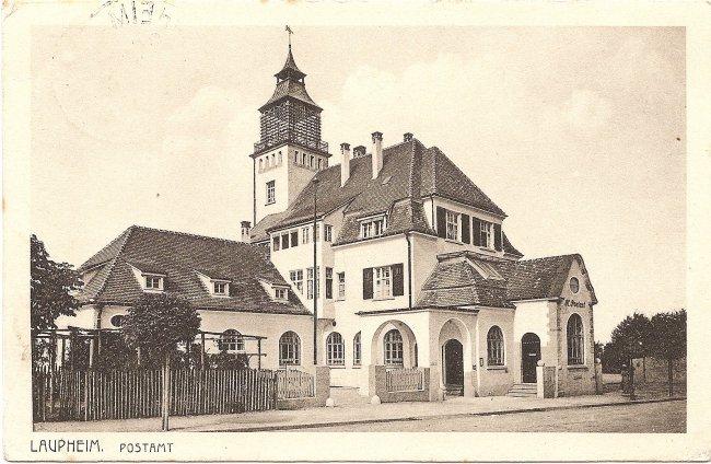 Laupheim,  Postamt (Vorderseite der Ansichtskarte)