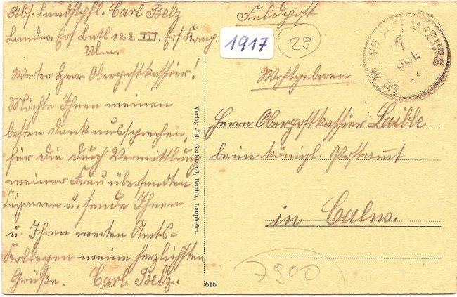 Laupheim. Partie beim Stadtbahnhof mit neuem Postamt (Rückseite der Ansichtskarte)