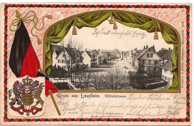 Gruß aus Laupheim, Mittelstraße (Vorderseite der Ansichtskarte)