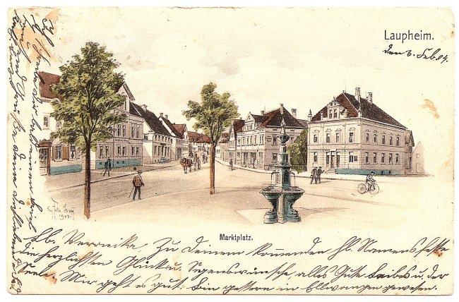 Laupheim, Marktplatz (Vorderseite der Ansichtskarte)