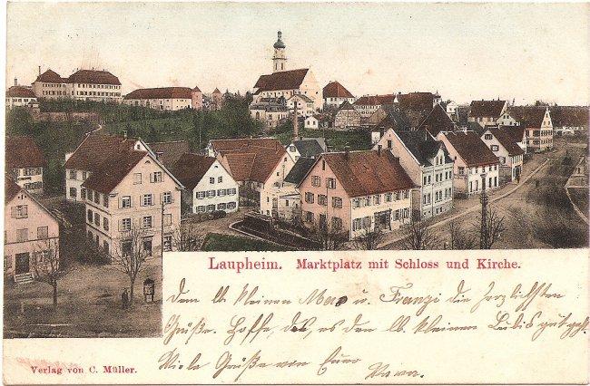 Laupheim, Marktplatz mit Schloss und Kirche (Vorderseite der Ansichtskarte)