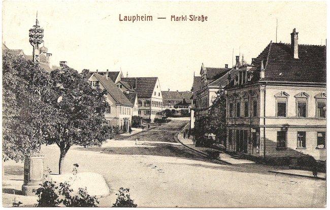 Laupheim - Markt Straße (Vorderseite der Ansichtskarte)