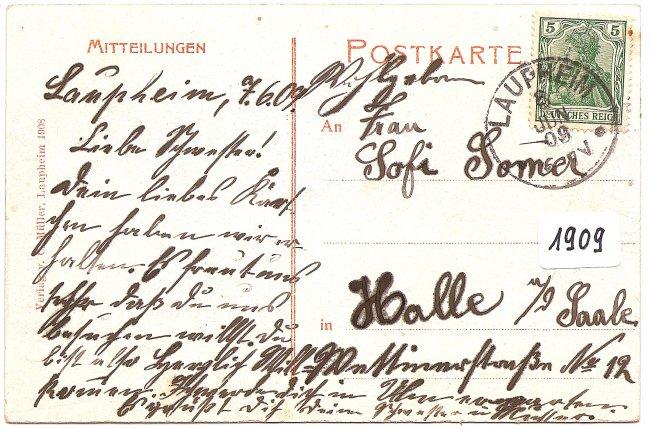 Laupheim, Mittelstrasse, Nordseite (Rückseite der Ansichtskarte)