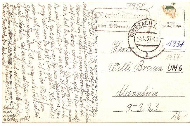 Laupheim, Adolf Hitler-Straße (Rückseite der Ansichtskarte)