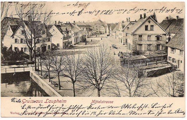 Gruss aus Laupheim, Mittelstraße (Vorderseite der Ansichtskarte)