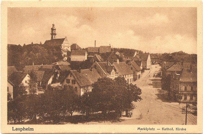 Laupheim, Marktplatz - Kathol. Kirche (Vorderseite der Ansichtskarte)