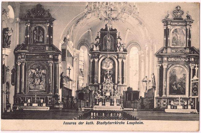 Inneres der kath. Stadtpfarrkirche Laupheim (Vorderseite der Ansichtskarte)