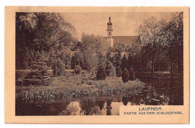 Laupheim - Partie aus dem Schlosspark (Vorderseite der Ansichtskarte)