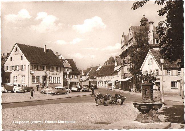 Laupheim (Württ.), Oberer Marktplatz (Vorderseite der Ansichtskarte)