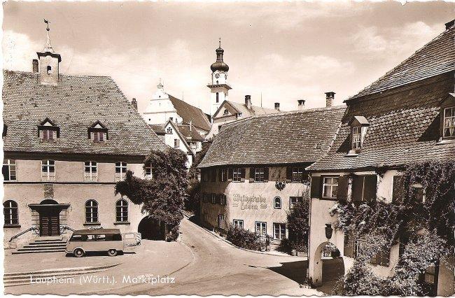 Laupheim (Württ.), Marktplatz (Vorderseite der Ansichtskarte)