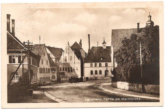 Laupheim, Partie am Marktplatz (Vorderseite der Ansichtskarte)