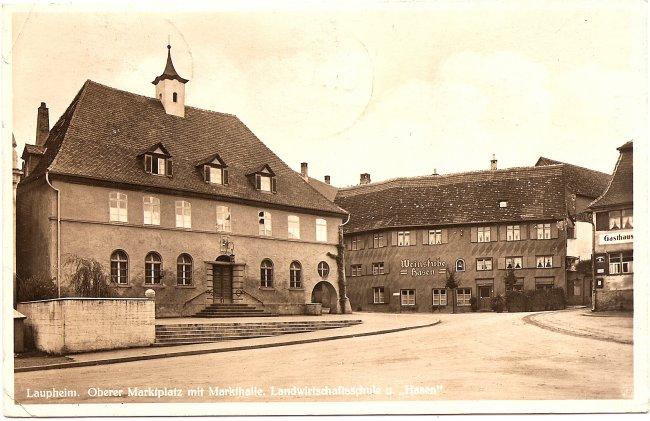 Laupheim, Oberer Marktplatz mit Markthalle, Landwirtschaftsschule u. \