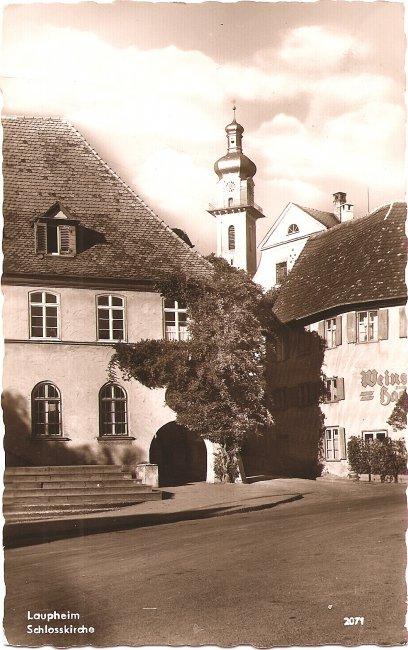 Laupheim, Schlosskirche (Vorderseite der Ansichtskarte)