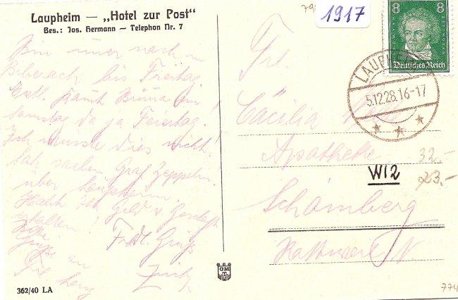Laupheim, Hotel zur Post (Rückseite der Ansichtskarte)