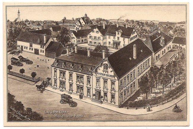 Laupheim, Hotel zur Post (Vorderseite der Ansichtskarte)