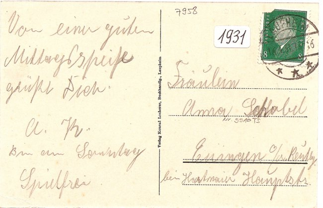 Laupheim, Hotel Post (Rückseite der Ansichtskarte)