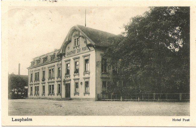 Laupheim, Hotel Post (Vorderseite der Ansichtskarte)