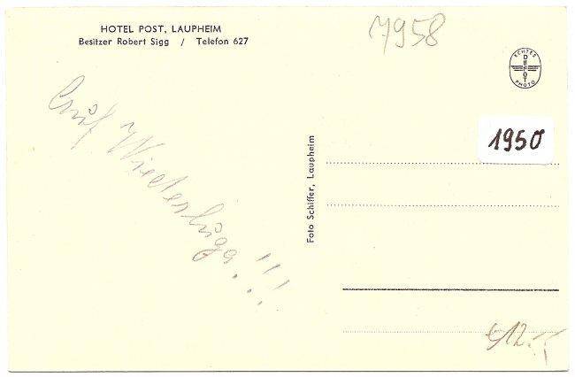 Hotel Post (Rückseite der Ansichtskarte)