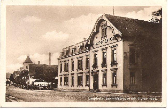 Laupheim, Schmidstraße mit Hotel Post (Vorderseite der Ansichtskarte)
