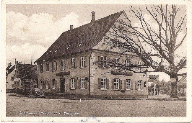 Gasthaus z. Kreuz (Vorderseite der Ansichtskarte)