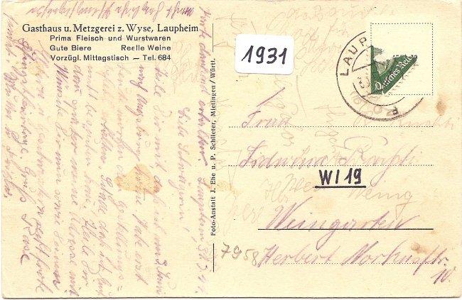 Gasthof und Metzgerei zum Wyse (Rückseite der Ansichtskarte)