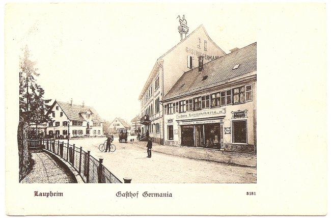 Laupheim, Gasthof Germania (Vorderseite der Ansichtskarte)