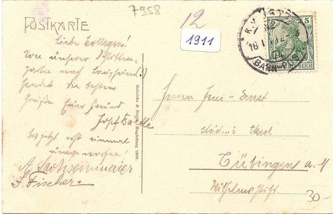 Laupheim, Biberacher Straße (Rückseite der Ansichtskarte)