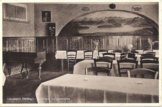 Laupheim (Württ.) - Gasthaus zur Germania (Vorderseite der Ansichtskarte)