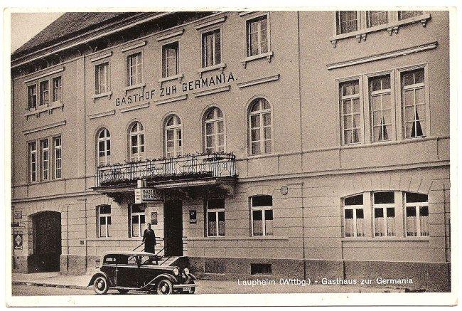 Laupheim (Wttbg.) - Gasthaus zur Germania (Vorderseite der Ansichtskarte)