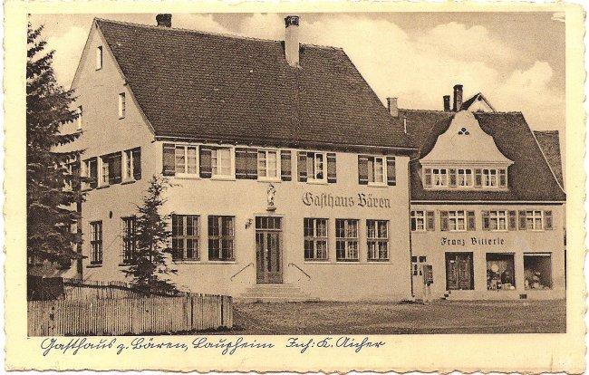 Gasthaus zum Bären, Laupheim (Vorderseite der Ansichtskarte)